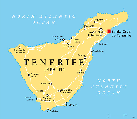 Tenerife island, political map, part of the Canary Islands, Spain
