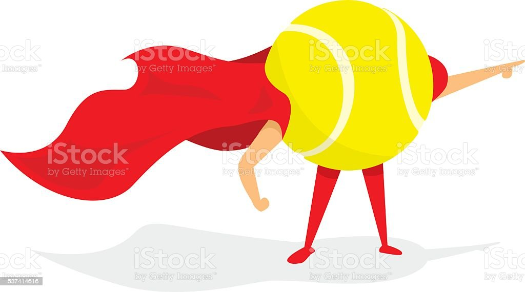 7de05ef331000 Ilustración de Pelota De Tenis Super Héroe De Pie Con Cabo y más ...