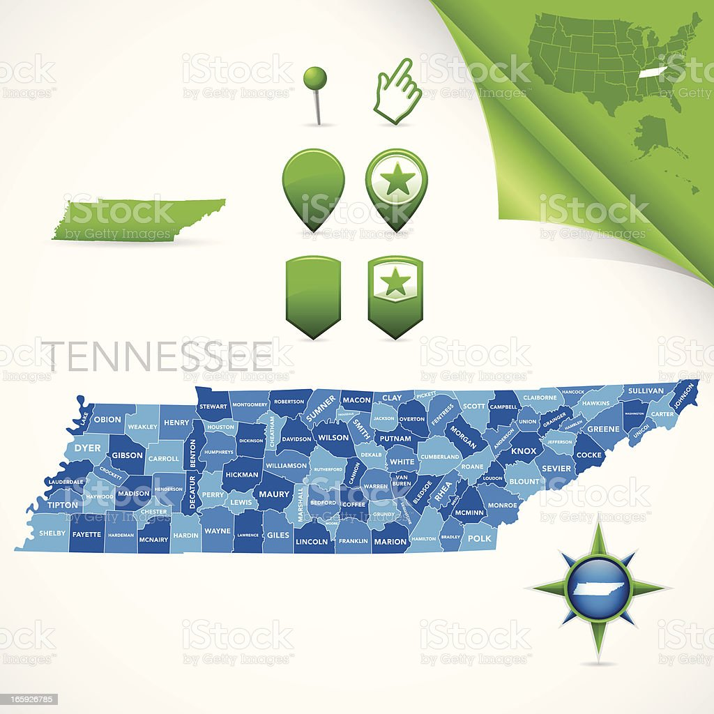 Tennessee County Map vector art illustration