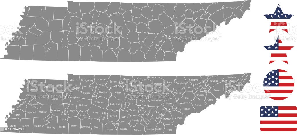 United States Map With County Names.Tennessee County Map Vector Outline In Gray Background Tennessee