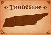 Tennessee Grunge Map with Frame