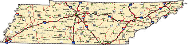 Tennessee Highway Map (vector) vector art illustration
