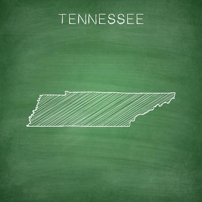 Tennessee map drawn on chalkboard - Blackboard