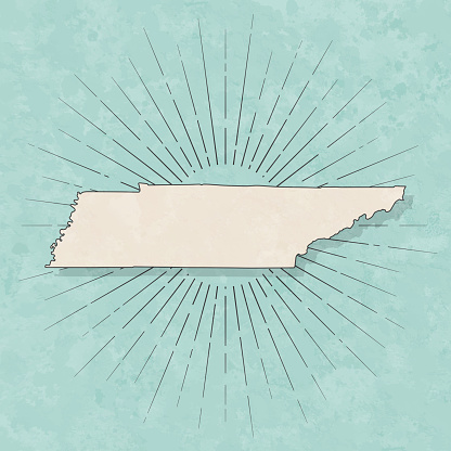 Tennessee map in retro vintage style - Old textured paper