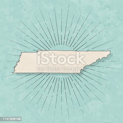 Map of Tennessee in a trendy vintage style. Beautiful retro illustration with old textured paper and light rays in the background (colors used: blue, green, beige and black for the outline). Vector Illustration (EPS10, well layered and grouped). Easy to edit, manipulate, resize or colorize.