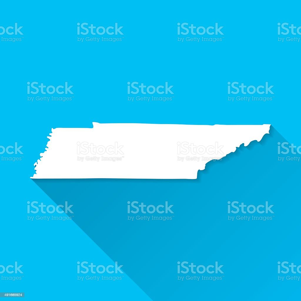 Tennessee Map on Blue Background, Long Shadow, Flat Design vector art illustration
