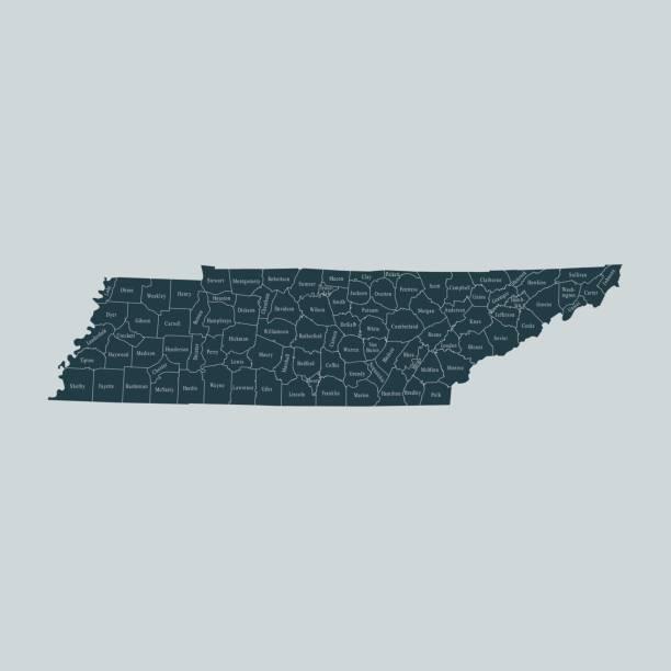 Tennessee map – artystyczna grafika wektorowa
