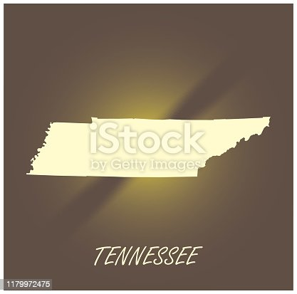 Tennessee map vector outline cartography black and white illuminated grunge background illustration