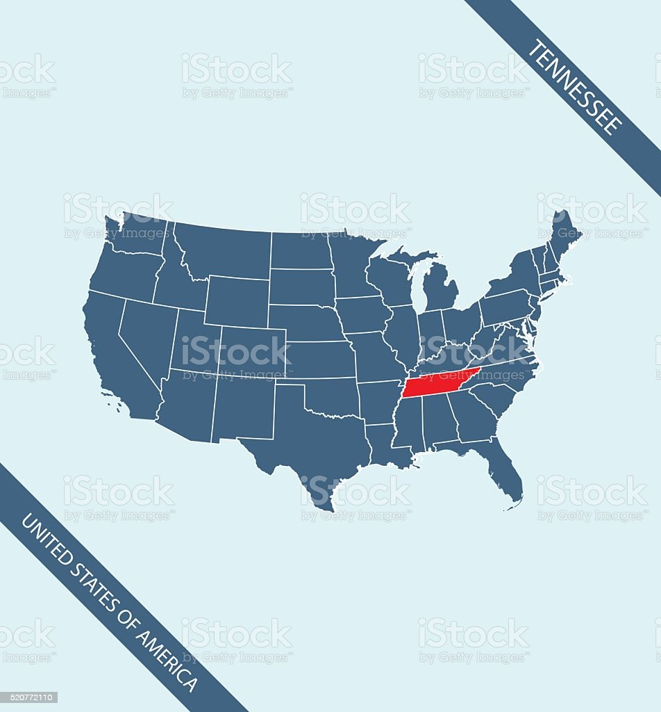 Tennessee Map Vector Outline Illustration Highlighted In Usa Map ...