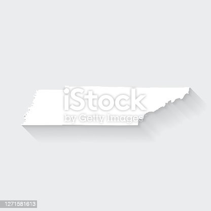 istock Tennessee map with long shadow on blank background - Flat Design 1271581613