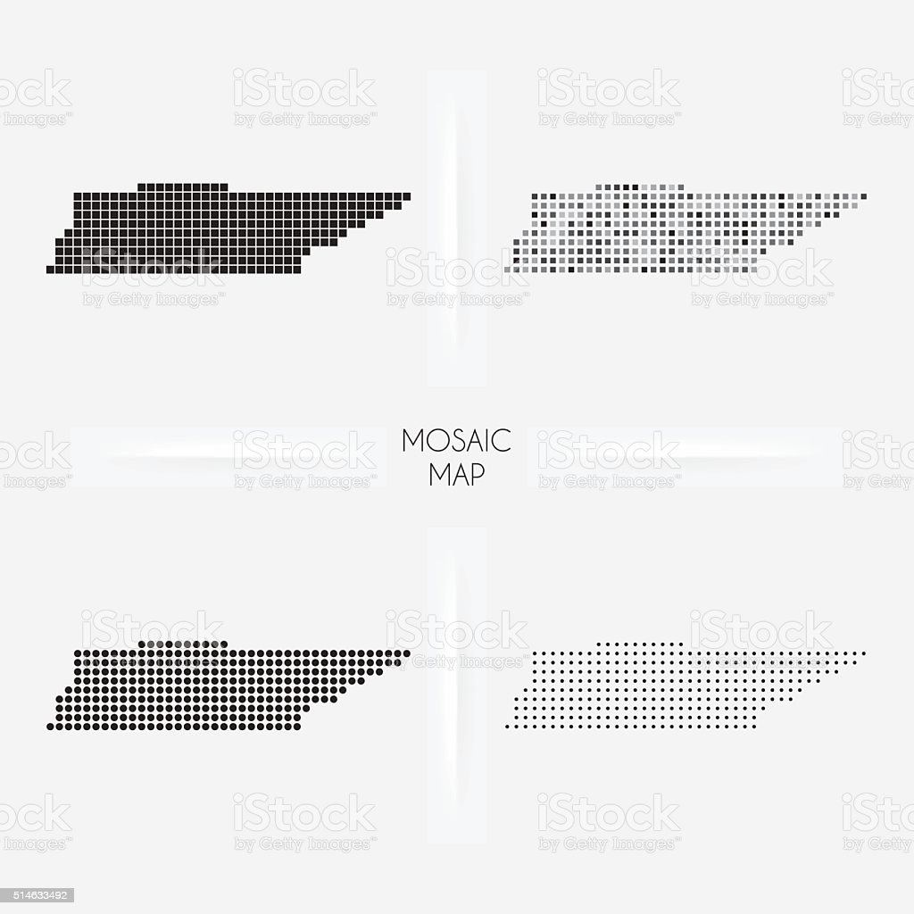 Tennessee maps - Mosaic squarred and dotted vector art illustration
