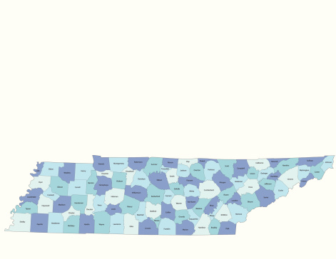 Detailed state-county map of Tennessee. This file is part of a series of state/county maps.  Each file is constructed using multiple layers including county borders, county names, and a highly detailed state silhouette. Each file is fully customizable with the ability to change the color of individual counties to suit your needs.  Zip contains both .AI_CS2 and .ESP_8.0 as well as a large JPEG file.  Map generated using data from the public domain.  (http://www.census.gov/geo/www/tiger/) Traced using Adobe Illustrator CS2 on 7/28/2006. 3 data layers.