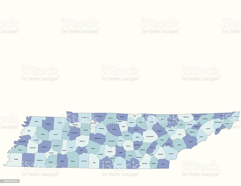Tennessee state - county map vector art illustration