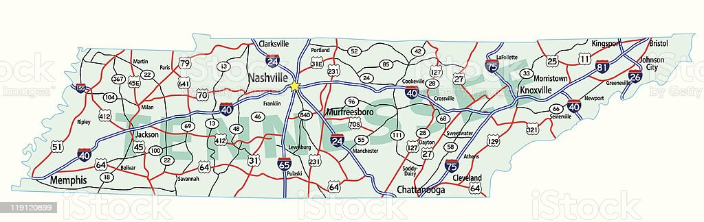 Tennessee State Interstate Map vector art illustration