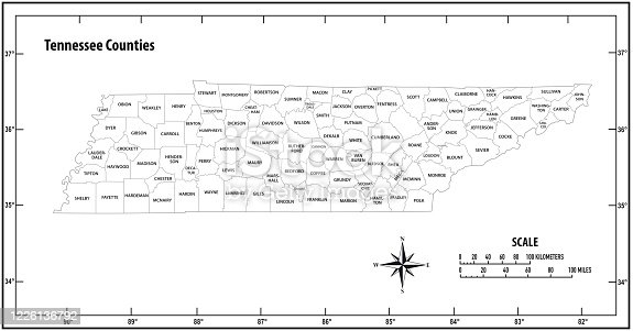 istock Tennessee state outline administrative and political vector map in black and white 1226136792