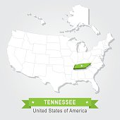 Tennessee state. USA administrative map.