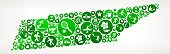 Tennessee Summer Camp Fun Icon Pattern. This illustration depicts the main object in the center of the composition. It is made up of green round buttons which form a fun Summer Camp fun adventure pattern. The pattern is made up of round buttons. Each button has a summer camp vacation icon on it.  The background is light with a slight gradient around the edges.