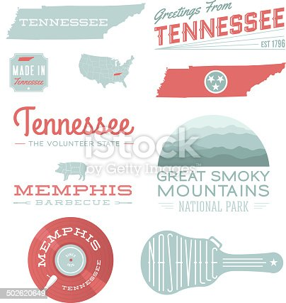 A set of vintage-style icons and typography representing the state of Tennessee, including Memphis, Nashville and Great Smoky Mountains NP. Each items is on a separate layer. Includes a layered Photoshop document. Ideal for both print and web elements.