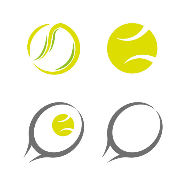 Tennis 5 A set of tennis icons racket stock illustrations