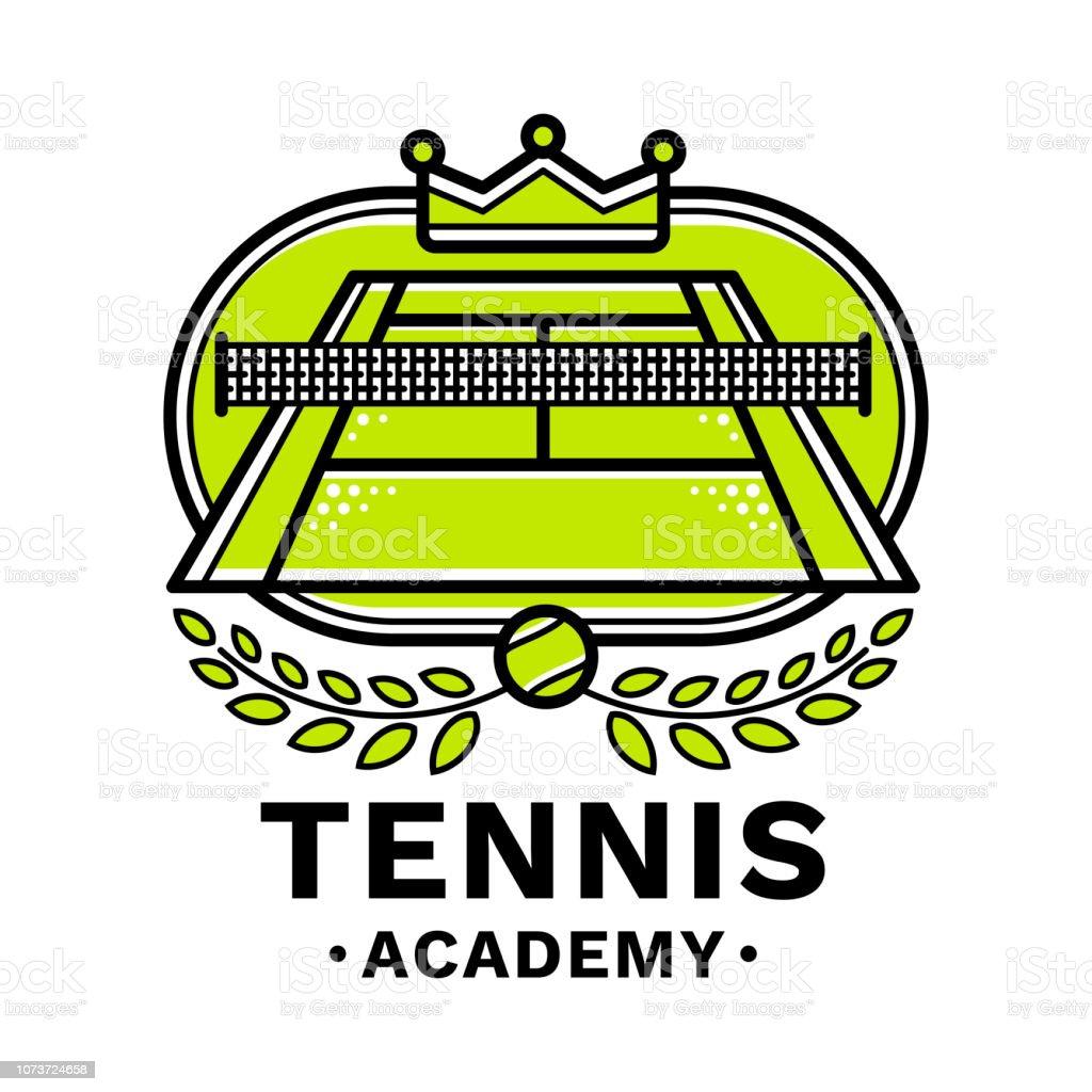 3b131d9033fe3 Emblème de tennis academy, illustration, style de ligne moderne, couleur  verte, sur