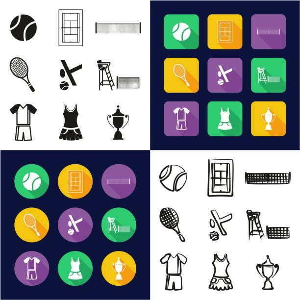 tennis, die alle in einem icons schwarz & weiß flach farbe design freihand-set - wimbledon stock-grafiken, -clipart, -cartoons und -symbole