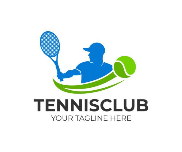 tennis und tennis spieler schlägt den ball mit einem tennisschläger vorlage. aktiv sport und tennis-turnier, meisterschaft, vektor-design und illustration - wimbledon stock-grafiken, -clipart, -cartoons und -symbole