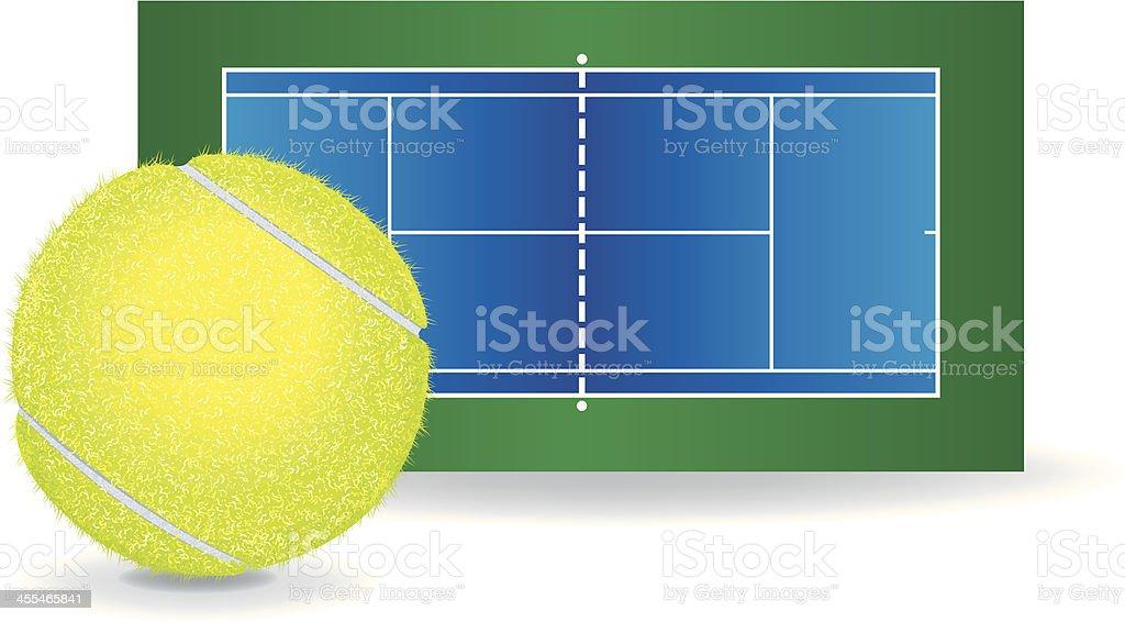 Tennis - Ball and Court vector art illustration