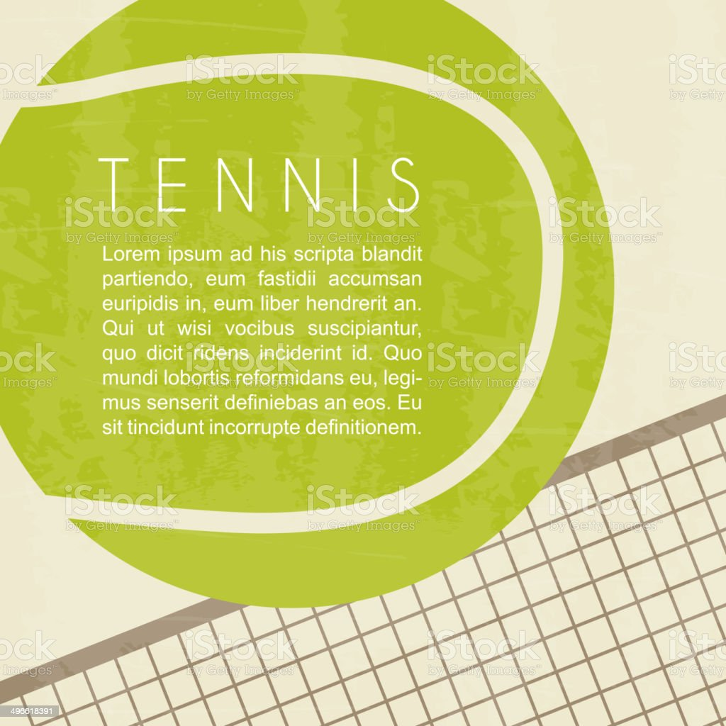 Tennis ball and net design vector art illustration