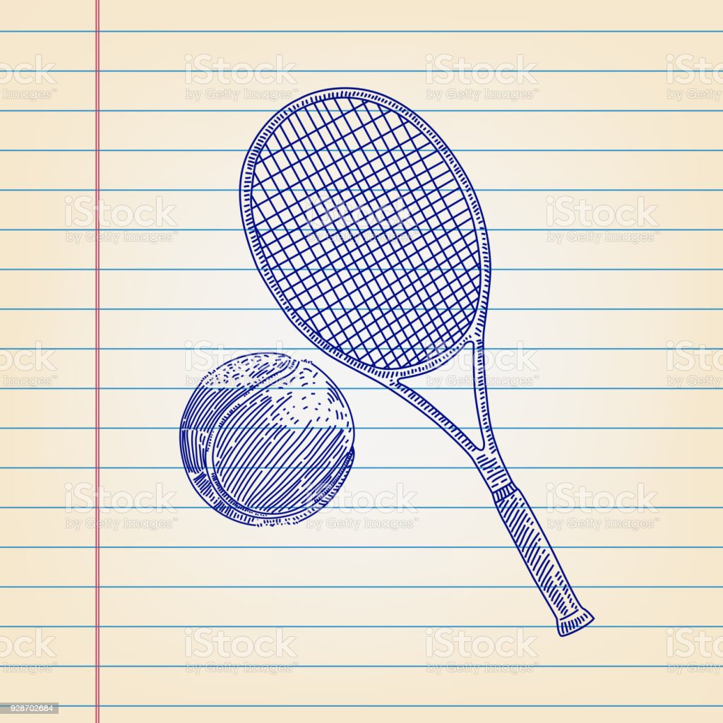 Tennis Ball And Racket Drawing On Lined Paper Stock Vector Art