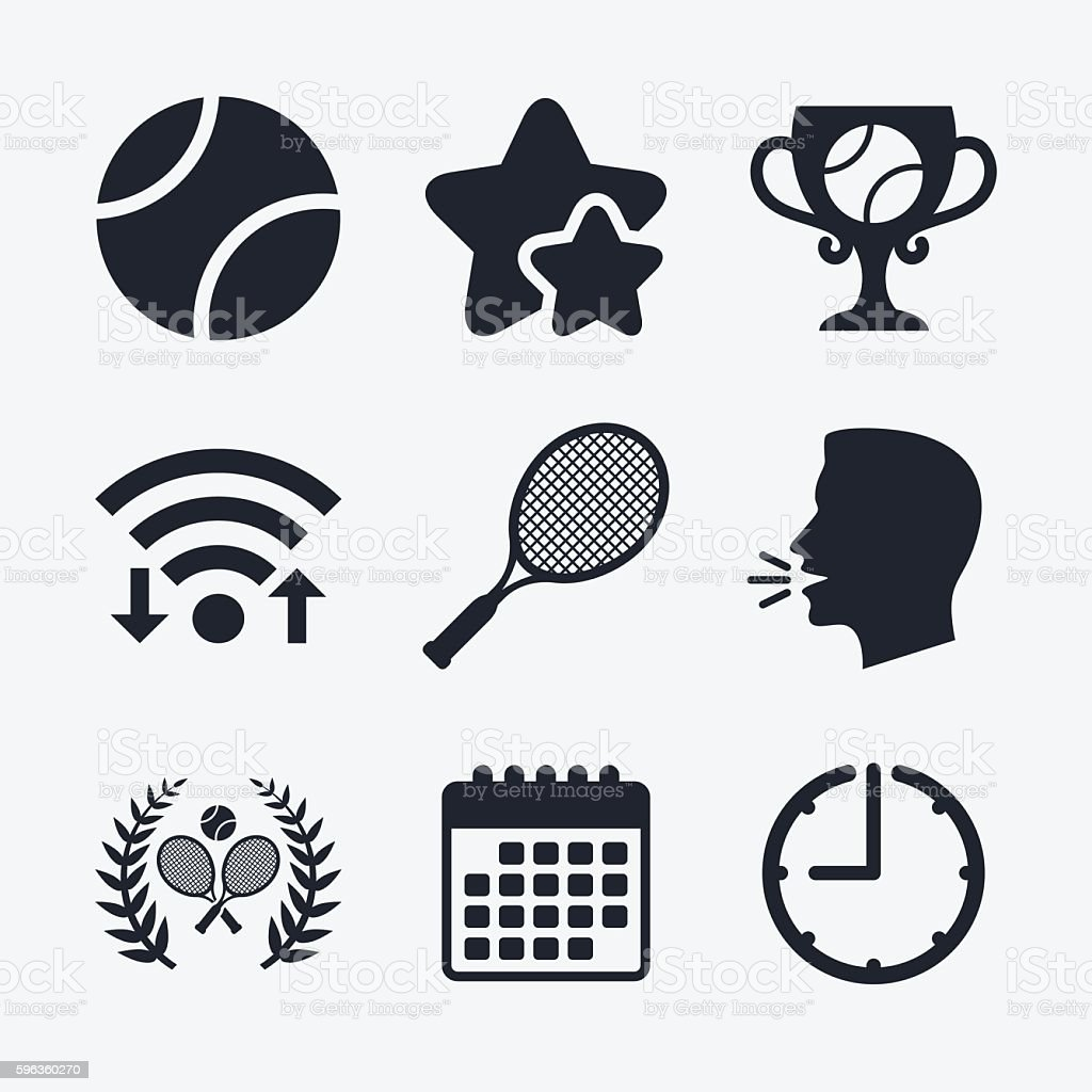 Tennis ball and rackets icons. Laurel wreath. royalty-free tennis ball and rackets icons laurel wreath stock vector art & more images of award