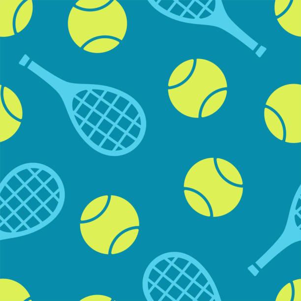 stockillustraties, clipart, cartoons en iconen met tennisbal en racquet naadloze vector patroon. kleurrijke print in platte stijl - tennis