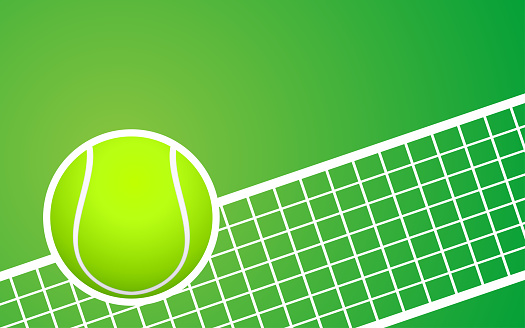 Tennis ball and the court background