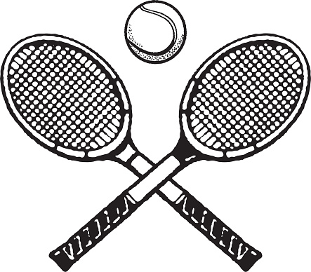 Tennis ball and two tennis rackets
