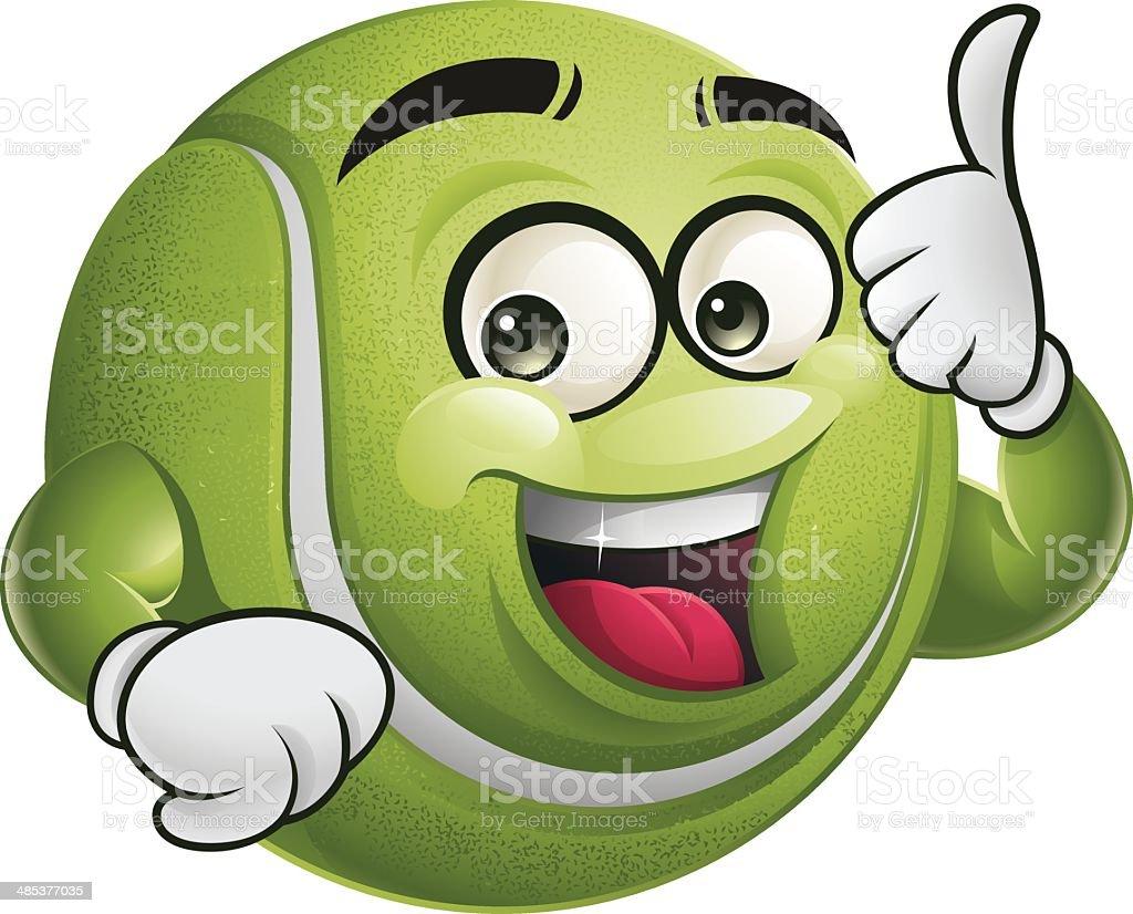 Tennis Ball Cartoon - Thumbs Up vector art illustration