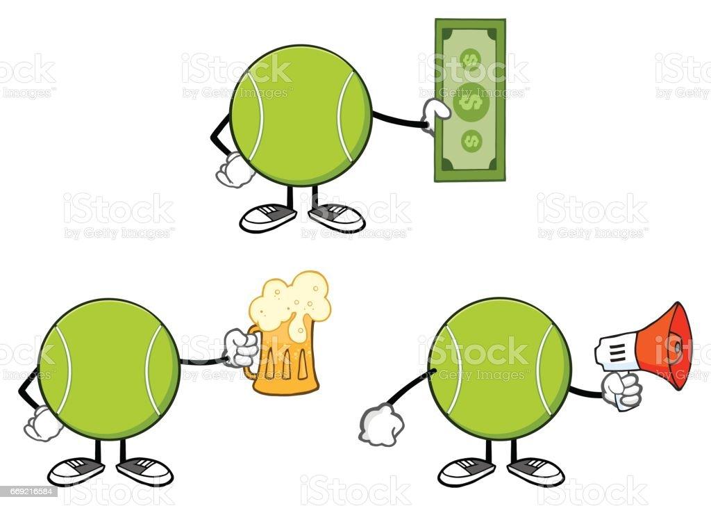 Tennis Ball Faceless Cartoon Mascot Character 11. Collection Set vector art illustration