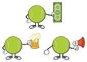 Tennis Ball Faceless Cartoon Mascot Character 11. Collection Set