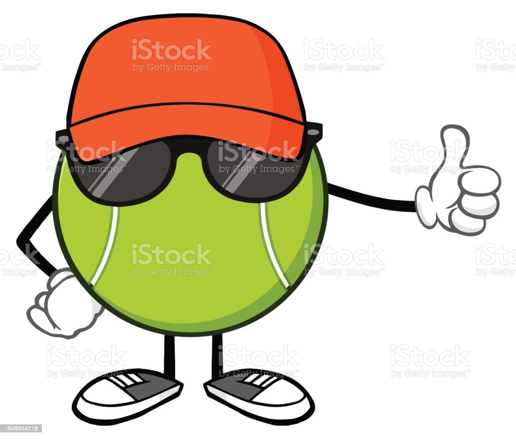 Tennis Ball Faceless Cartoon Mascot Character With Hat And Sunglasses Giving A Thumb Up vector art illustration