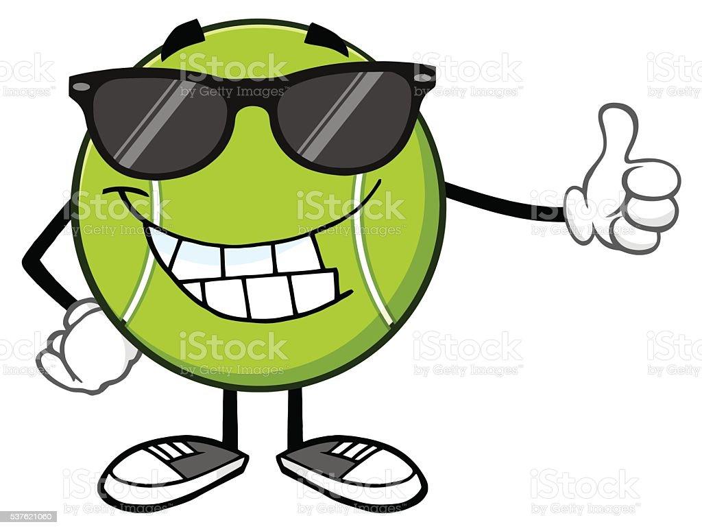 Bola Arriba Un Gafas Pulgar Ilustración Sol Tenis De Dando Con QdBrtCxsh