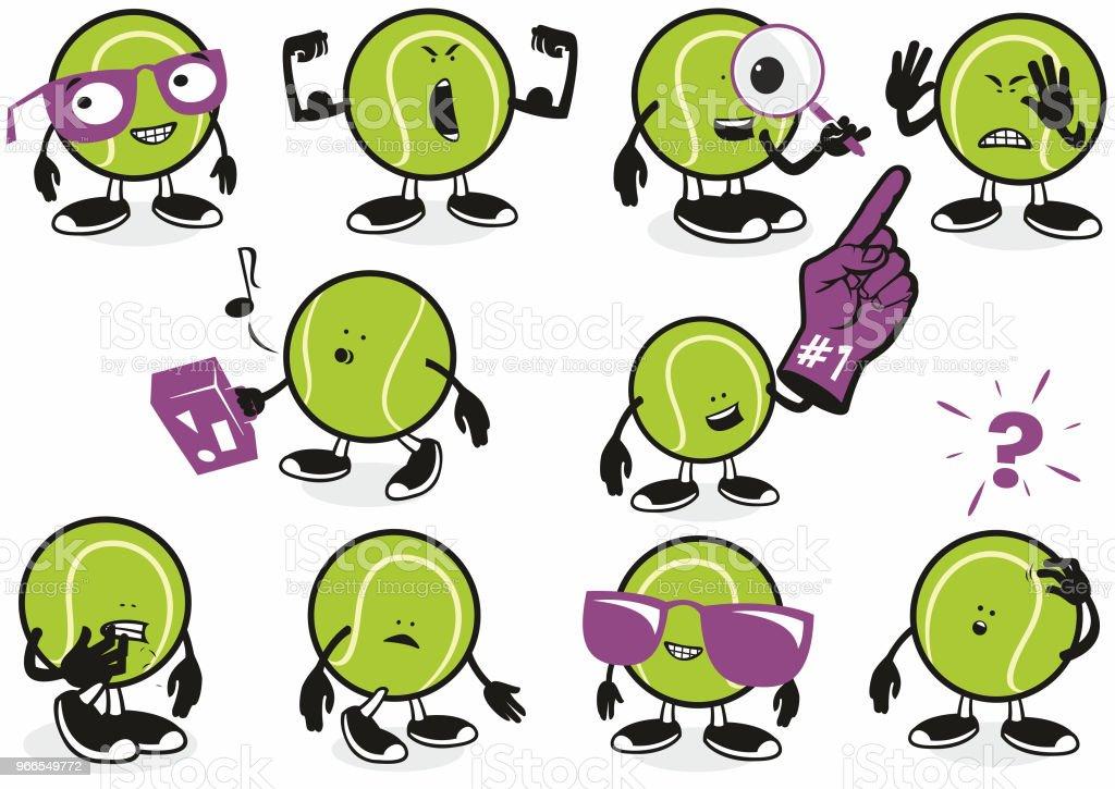 Tennis ball Icon characters vector art illustration