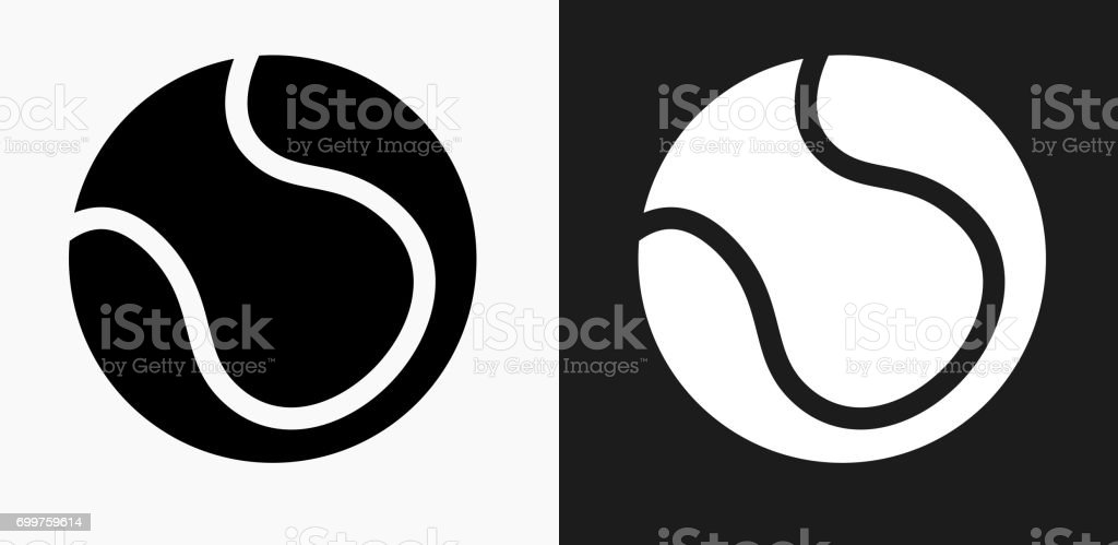 Tennis Ball Icon on Black and White Vector Backgrounds vector art illustration