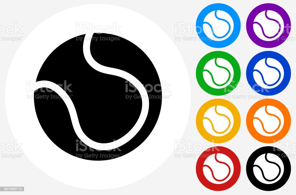 Tennis Ball Icon on Flat Color Circle Buttons vector art illustration