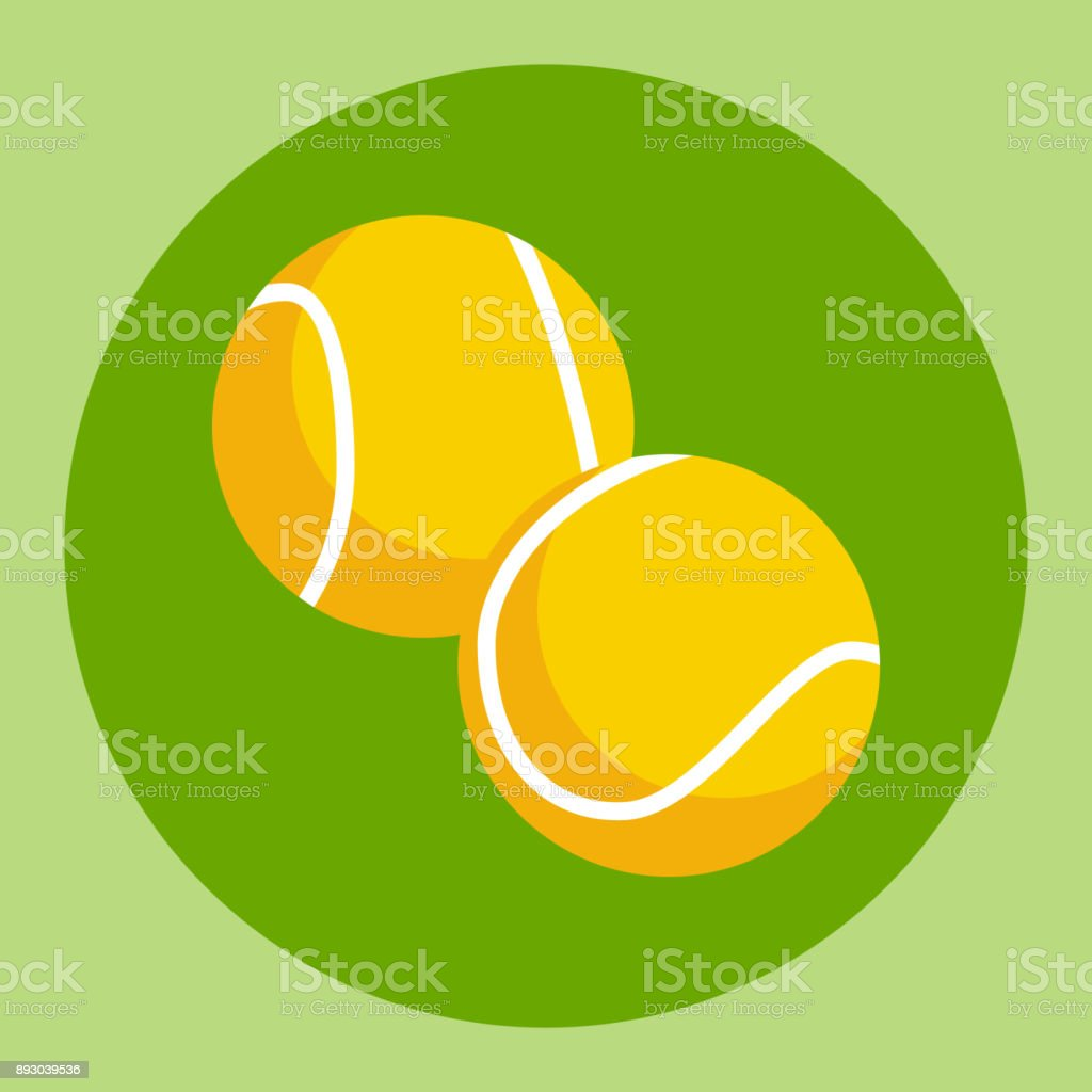 Tennis ball icon. Yellow tennis ball on a green background. Sports...
