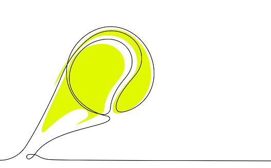 tennis ball in one continuous line. Sport, active lifestyle. Background for sports competitions. Vector
