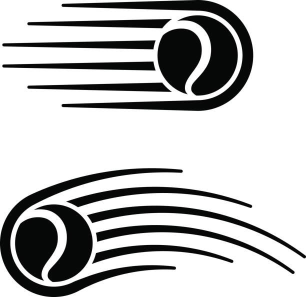 tennis ball motion line symbol vector - tennis stock illustrations, clip art, cartoons, & icons