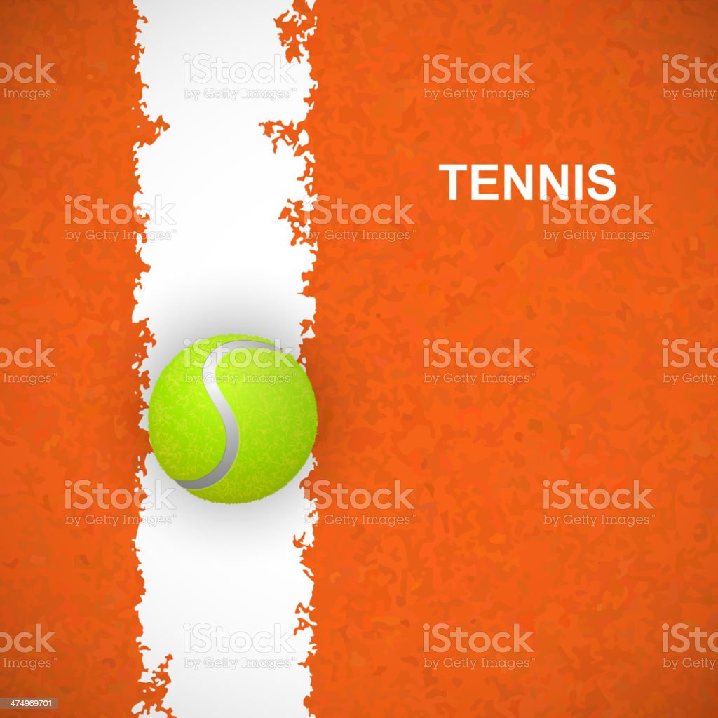 Tennis ball on court. Vector vector art illustration