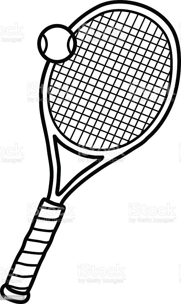 Tennis Ball Racket Stock Vector Art More Images Of Arts Culture