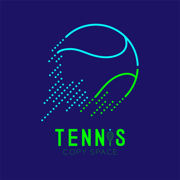 tennis ball rushing logo icon outline stroke set dash line design illustration isolated on dark blue background with tennis text and copy space, vector eps 10 - tennis stock illustrations, clip art, cartoons, & icons