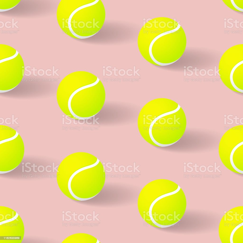 This illustrated 3D tennis ball pattern repeats seamlessly and would...