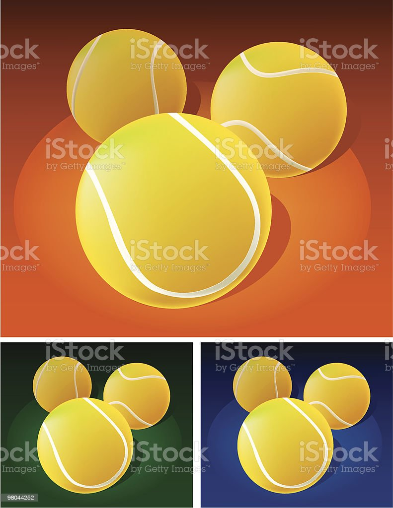 Palle da tennis sul campo palle da tennis sul campo - immagini vettoriali stock e altre immagini di attrezzatura sportiva royalty-free