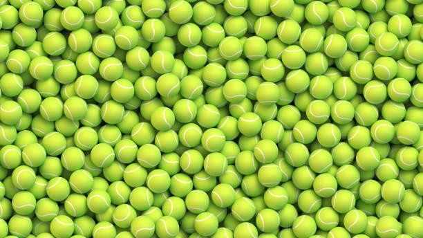stockillustraties, clipart, cartoons en iconen met tennis ballen realistische vector achtergrond - tennis
